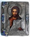 Спас в сер. окладе 84 пр. с накладками с выевмчатами эмалью (под реставрацию) photo 1