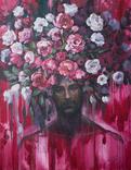 Чоловік серед квітів. Картина олійними фарбами. (100х80см) Ю.Смаль