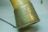 Рог с металлическими вставками. Цепочка, фото №4