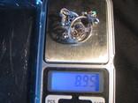 Гарнитур - кольцо и серьги СССР - серебро с бирюзой. photo 9