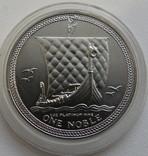 1 нобль 1985 год ОСТРОВ МЭН платина 31,1 грамм 999,5`, фото №2