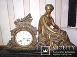 Часы каминные антикварные Жозефина мрамор шпиатр механика, фото №3