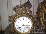 Часы каминные антикварные Жозефина мрамор шпиатр механика, фото №4