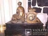 Часы каминные антикварные Жозефина мрамор шпиатр механика, фото №11