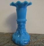 Старинная французская фигурная ваза опаловое молочное стекло Portieux Vallerysthal
