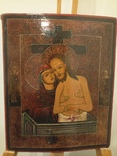 Икона Богородица, Иисус Христос и двое святых.