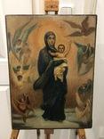 Большая икона Богородица, Иисус Христос, ангелы. 440 х 327 мм.