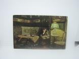 Открытка Девушка читает книгу возле настольной лампы. Штемпель Полевой почты, фото №2