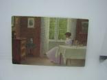 Открытка Девушка читает книгу в столовой возле окна, фото №2