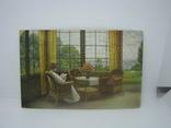 Открытка Девушка читает книгу сидя на веранде, фото №2