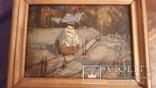 Картина в раме пейзаж,картон,масло с подписью на обороте Гончар photo 2