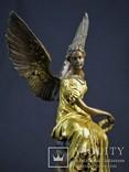 Фигурка Статуэтка Ника Богиня Победа Клеймо J. Houdon Бронза Европа photo 3