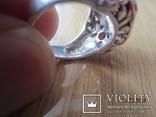 Винтажный набор Кольцо и серьги серебро 925 с гранатом, фото №6