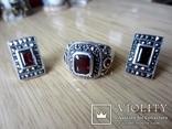 Винтажный набор Кольцо и серьги серебро 925 с гранатом, фото №8