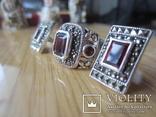 Винтажный набор Кольцо и серьги серебро 925 с гранатом, фото №11