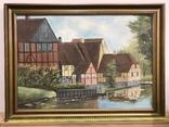 Картина с домиками и речным пейзажем. Подпись автора a. Dupont. Привезена из Дании.
