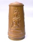 Медный кувшин с чеканкой на тему Буддизма. 28 см. высота. photo 2