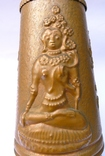 Медный кувшин с чеканкой на тему Буддизма. 28 см. высота. photo 3