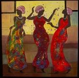 "Холст,Масло,Акрил."" Африканки в танце.'' 50 * 50 см. Гурский А."