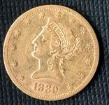 Золотая монета 10 долларов 1880г