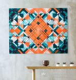 Геометрична акварельна абстракція Оранжевий-бірюзовий (129х99) Ю. Смаль