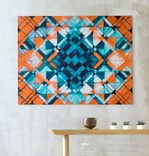 Геометрична акварельна абстракція Оранжевий-бірюзовий (129х99) Ю. Смаль photo 2
