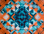 Геометрична акварельна абстракція Оранжевий-бірюзовий (129х99) Ю. Смаль photo 3