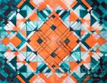 Геометрична акварельна абстракція Оранжевий-бірюзовий (129х99) Ю. Смаль photo 4