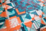 Геометрична акварельна абстракція Оранжевий-бірюзовий (129х99) Ю. Смаль photo 5