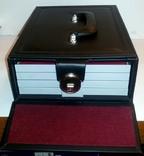 Нумизматический кейс серии Elegant качественный кожзам + 4 бокса. 2305. Чёрный., фото №3