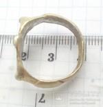 Перстень рогач, серебро в позолоте photo 3