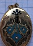Кулон-ладанка, 56 проба с эмалью. photo 4