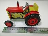 Жестяной заводной трактор с прицепом. 4 передачи. Комплект. photo 4