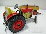Жестяной заводной трактор с прицепом. 4 передачи. Комплект. photo 5