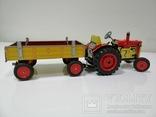 Жестяной заводной трактор с прицепом. 4 передачи. Комплект. photo 7