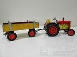 Жестяной заводной трактор с прицепом. 4 передачи. Комплект. photo 8