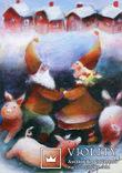 Набор открыток зимние Новый год гномы красные шапочки и колпаки, фото №3