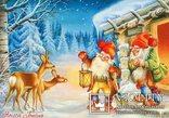 Набор открыток зимние Новый год гномы красные шапочки и колпаки, фото №7