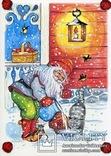 Набор открыток зимние Новый год гномы красные шапочки и колпаки, фото №8