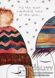 Набор открыток зимние Новый год гномы красные шапочки и колпаки, фото №10