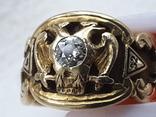 Масонский перстень с бриллиантом. Золото 14 карат (кольцо, diamond, діамант, masonic)