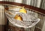 Хрустальная лодочка с серебряной позолоченной ручкой. СССР. 1959 г., фото №3