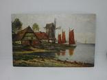 Открытка Мельница. Озеро. Лодки, фото №2