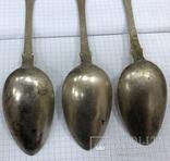 Набор серебряный столовых ложек 84 пробы 1880 года на 3 персоны., фото №6