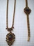 Винтажный гарнитур (колье и браслет), рубиновое стекло ЧССР, фото №4