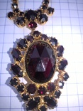Винтажный гарнитур (колье и браслет), рубиновое стекло ЧССР, фото №5