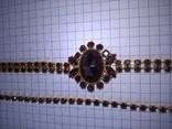 Винтажный гарнитур (колье и браслет), рубиновое стекло ЧССР, фото №6