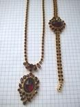 Винтажный гарнитур (колье и браслет), рубиновое стекло ЧССР, фото №7