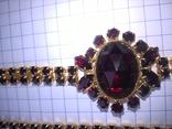 Винтажный гарнитур (колье и браслет), рубиновое стекло ЧССР, фото №12