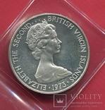 Виргинские о-ва 1 доллар 1973 ПРУФ Птица, фото №3